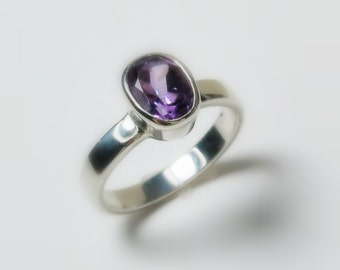 Amethyst 14K White Gold Ring - Made to Order, White, Yellow, Rose Gold, topaz and aquamarine available