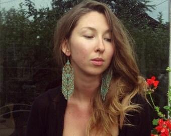 Meadowgrass..Long Beaded Fringe Earrings Native American Inspired