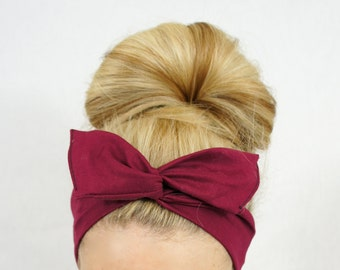 Wine Boho Wire Headband, Burgundy Headband, Dolly Bow Headband, Women's Headband, Baby Headband