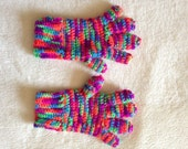 Multi-Color Full Fingered Gloves, Bright Crochet Gloves, Neon Winter Clothes, Youth Accessory, Gifts for Teens, Girl's Fashion, OOAK