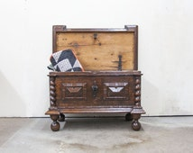 Beautiful Mid 1500s European Carved Coffer or Blanket Chest with Original Key