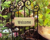 Fairy Garden Gate Welcome Sign, Miniature Garden Gate Fence, Whimsical Fairy