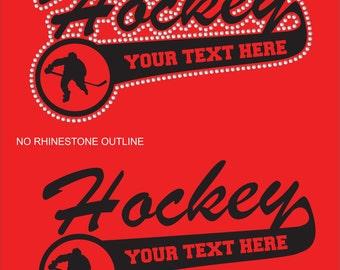 Personalized Hockey Shirt/ Hockey Mom Shirt/ Vinyl Rhinestone Personalized Hockey Mom Team Name Mascot TShirt/ Hockey Gifts