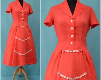 Vintage dress, 1950s coral / red lightweight, shirtwaister style dress, rockabilly / swing dress, pretty lace / bow detail, small / medium
