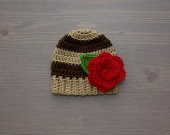 Brown Striped Crochet Baby Beanie with Flower, Crochet Baby Hat, Crocheted Baby Hat, Crochet Baby Girl, Newborn Photo Prop, Baby Shower Gift