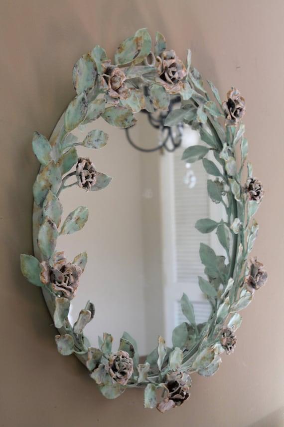 Large Round Decorative Metal Rose Framed Mirror Ornate