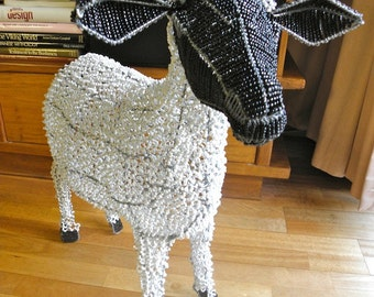 African Beaded Wire Animal Sculpture - SHEEP X-LARGE - White with Black Head