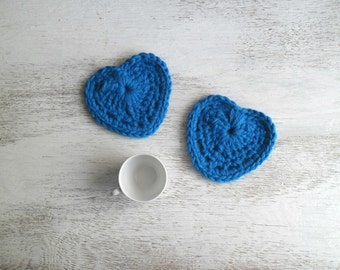 MADE TO ORDER - Crochet hearts coasters cobalt blue