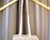 Crochet bag, cream silky yarn