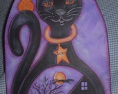 Painting Pattern for Salem, a Black Cat with a Halloween design, OFG, FAAP, Acrylic, Tole Painting, Fall, Purple, Witch, Owl,