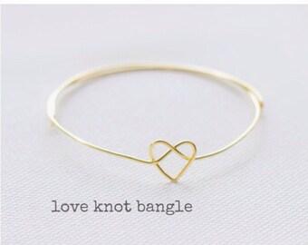 heart bracelet, tie the knot bracelet, tie the knot bracelet, bridesmaid bracelet, charm bracelet, love bracelet