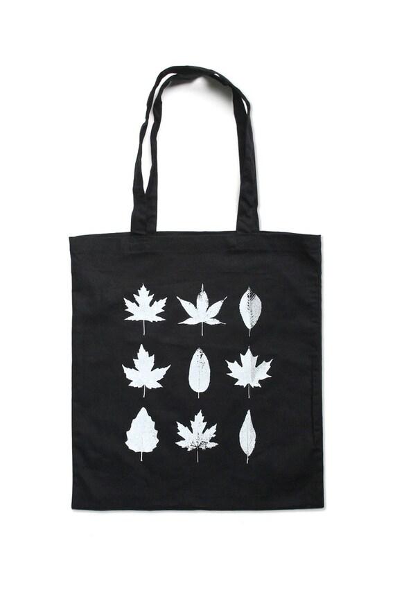 Black Tote Bag - Leaf Tote Bag - Black Tree Leaf Tote Bag  - In Small, Medium, Large, XL