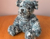 "Knitted Teddy Bear - Hand Knitted Toy - 9"" Bear - Blue Knitted Teddy - Hand Made Bear"