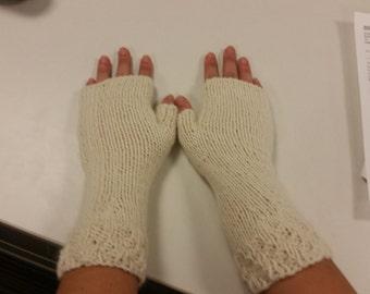 Alpaca blend, cream colored, fingerless gloves.