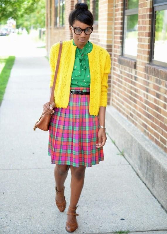 SUMMER SALE! - Vintage 60s 70s Loomtogs Yellow Knit Cardigan (Size Small or Medium) (Originally 40.00)