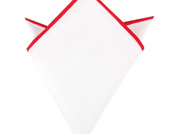 White Cotton Pocket Square with Red Border (01-WCPS) Mens Classic Solid Hand Rolled Suit Handkerchief Color Edge Men Handkerchiefs Squares