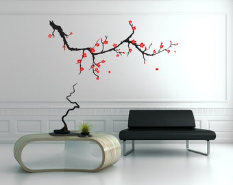 cherry blossom decal etsy. Black Bedroom Furniture Sets. Home Design Ideas