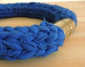 Navy blue necklace with Oxidized gold magnet clasp.