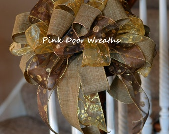 """13"""" CHRISTMAS TREE TOPPER bow decor chocolate dark brown linen burlap gold traditional elegant attachment (others available) Made to Order"""