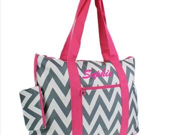 Nurse Bag Chevron Grey and Pink Teacher Scrapbooking Bag Weekender Tote Diaper Bag Sorority Gift Sister Personalized Custom Monogram