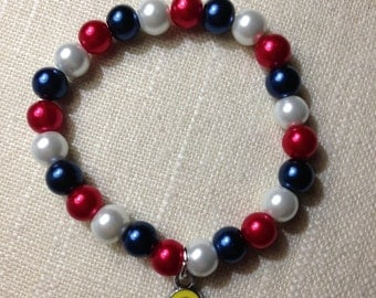 Support Our Troops Glass Pearl Beaded Bracelet w/ Yellow Awareness Ribbon Enamel Charm
