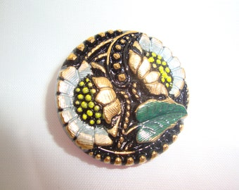 Czech Glass Button 27mm - hand painted - sunflowers, black, white, green, gold (B27061)