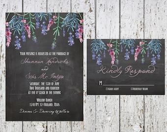 Chalkboard & Lavender Wedding Invitations; Printable OR set of 25