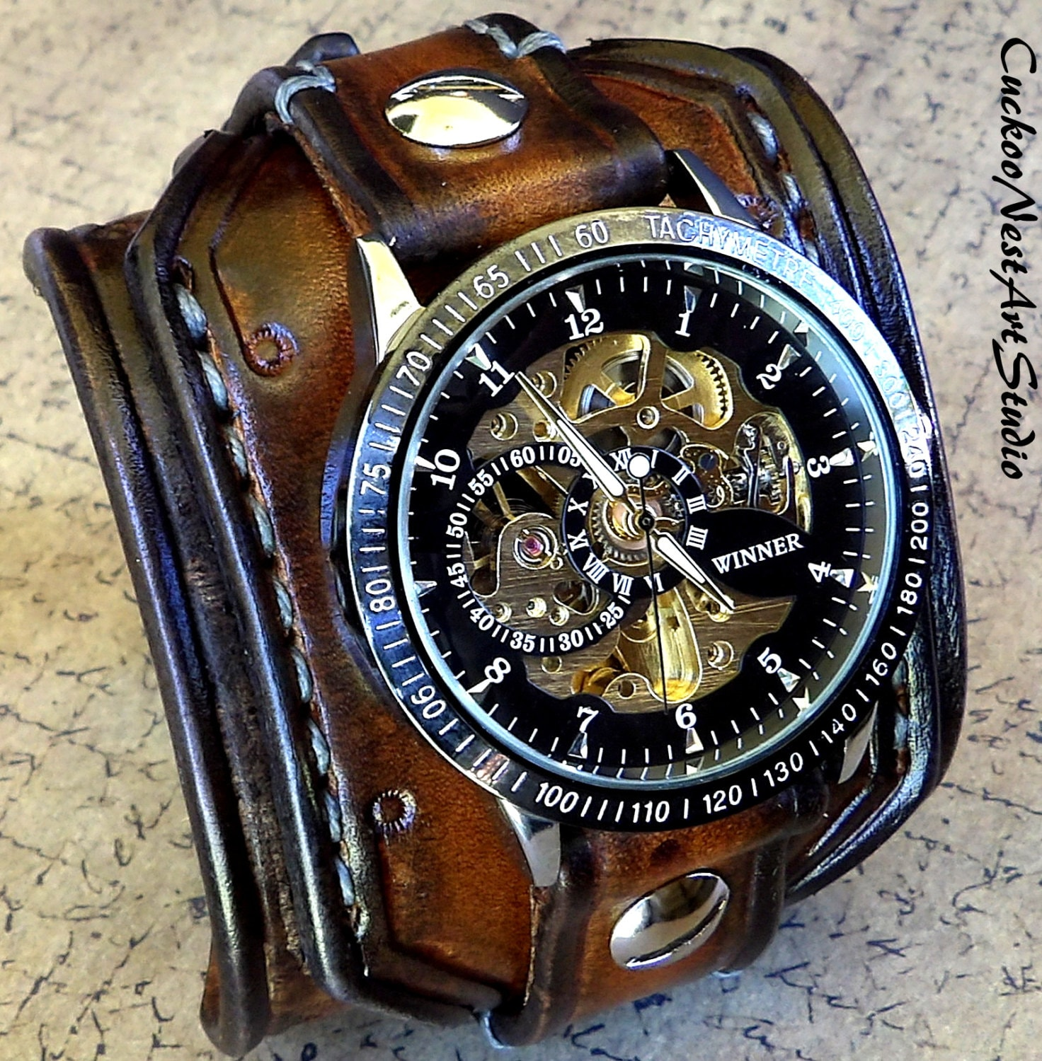 steampunk wrist watch leather watch skeleton watch leather leather cuff watch bracelet watch 🔎zoom