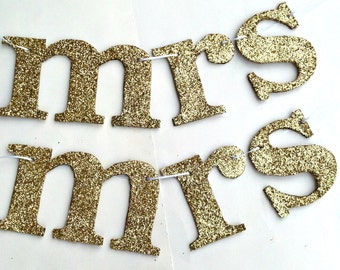 Gold Sparkle Mrs and Mrs Wedding Chair Sign
