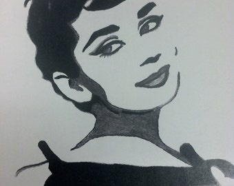 Audrey Hepburn Print From Original Charcoal Drawing Glamour No. 1 Breakfast at Tiffany's Holly Golightly Funny Face Sabrina