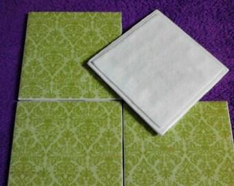 Green damask coasters. Set of 4 decoupage tile coasters.