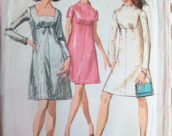 Vintage 1968 A-Line Dress Pattern Simplicity 7898 Size 12