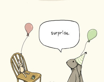 "Rabbit Birthday Card: Illustrated Surprise Birthday Party Card w/ Envelope, 4""X6"""