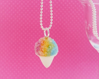 Snow Cone Necklace Polymer Clay, Miniature Clay Dessert Food Jewelry, Ball Chain. Birthday Party Favor, Sno Cone