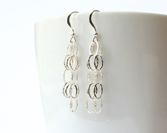 Hammered Silver Earrings, Sterling Silver Hammered Chain, Long Silver Dangle Earrings, Silver Chain Earrings, Sterling Silver Jewelry