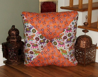 Large Moroccan Tufted Floor Pillows : Colorful Indian Elephant Extra Large Square Stuffed Tufted Pillow/ Floor Cushion / Bohemian Chic ...