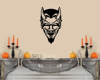"Devil face scary Halloween Wall Decal- (12""w x 20""h)"