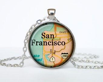San Francisco map pendant, San Francisco map necklace, San Francisco map jewelry, San Francisco California