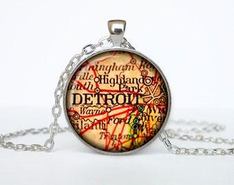 Detroit map pendant, Detroit map necklace, Detroit map jewelry, Detroit Michigan