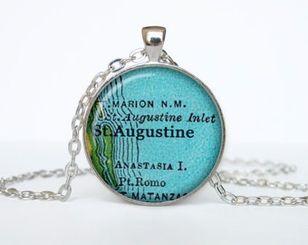 St.Augustine map pendant, St.Augustine map necklace,St.Augustine map jewelry, St.Augustine Florida