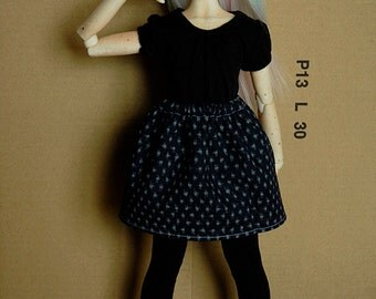MSD BJD Skirt [Dark Blue with Crosshatch]