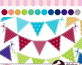 Digital Bunting Banner Clipart, Commercial Use Graphics, Flag Clip Art