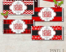 INSTANT DOWNLOAD Christmas Candy Bar Wrappers, Candy Bar Wraps, Candy Wrappers, Winter Candy Wrappers, Snowflakes, Red White, Plaid, Chevron