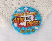 Wedding Save The Date Magnets Retro Comic Book Design (Complete With Organza Bags) x 40