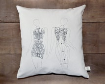 "Hand screen printed pillow cover - decorative canvas pillow cover- fashion sketch pillow cover - Size 17"" x 17"""