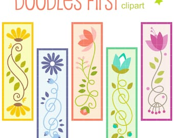Pretty Blooms Bookmarks Digital Clip Art for Scrapbooking Card Making Cupcake Toppers Paper Crafts