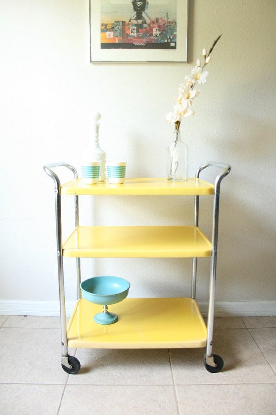 Vintage Yellow Rolling Cosco Server Cart Mid Century Metal