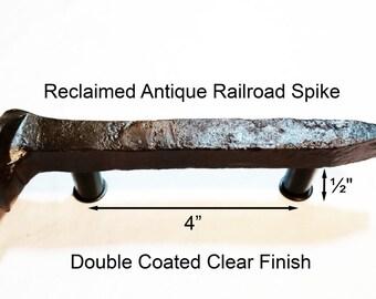 "4"" Left Sealed Railroad Spike Cupboard Handle Dresser Drawer Pull Cabinet Knob Antique Vintage Old Rustic Re-purposed House Restoration"