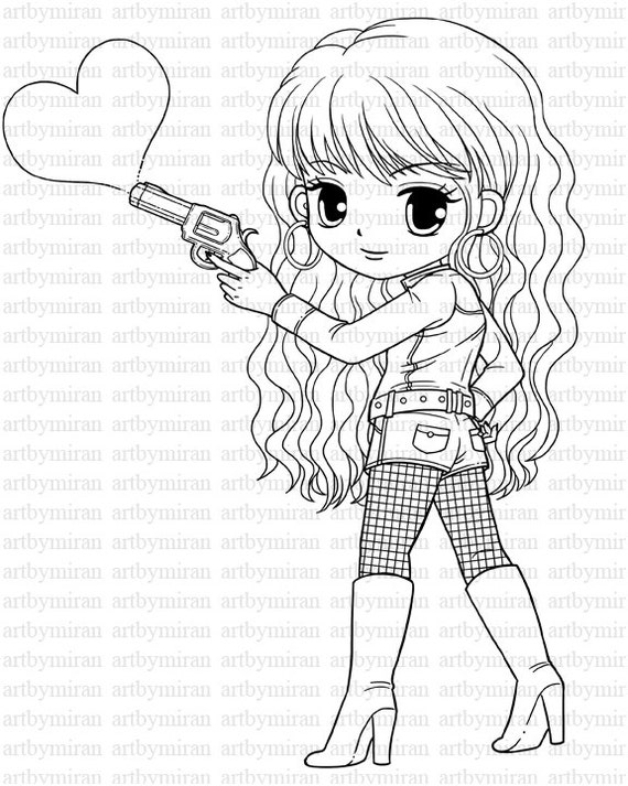 Digi Stamp-Love Shot, Pretty Girl Coloring page, Heart Digital Stamp, Printable Line art for Card and Craft Supply, Art by Mi Ran Jung