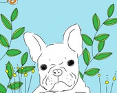 French Bulldog in the Garden -- Giclee Print from Original Illustration of a Frenchie